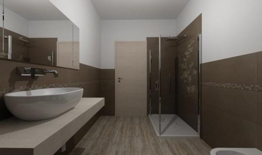 Bagno progettato con la serie  Concreta, ceramica Marazzi