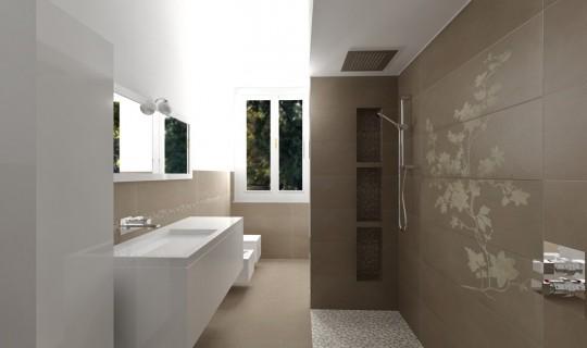 Progetto di un bagno con la serie Concreta, ceramica Marazzi