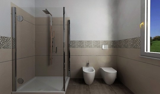 Progettazione di un bagno con la serie Argille di ceramica Naxos e sassi naturali 2