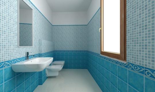 Progettazione di un bagno con la  serie Sardegna e mosaico azzurro