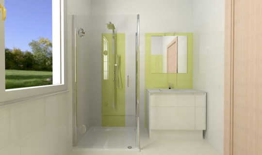 Progetto di un bagno con la serie Dots, ceramica Marazzi