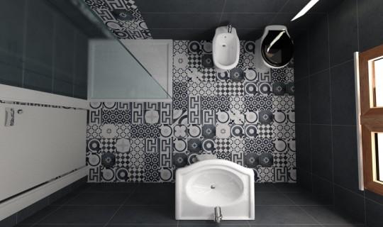 Progetto di un bagno con la serie Cementine Black&White, ceramica Fioranese