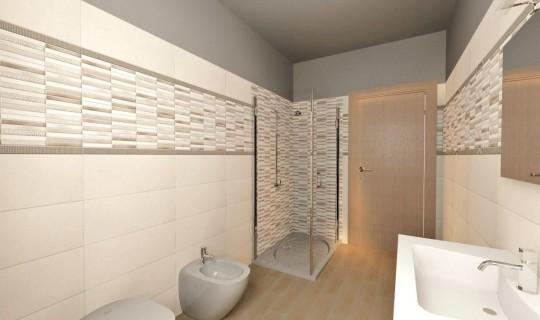 Progetto di un bagno con la serie Home, ceramica Naxos