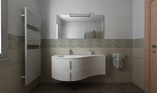 Progettazione di un bagno con la serie Argilla di ceramica Naxos e sassi naturali