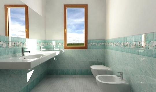 Progetto di un bagno con ceramica Cerasarda